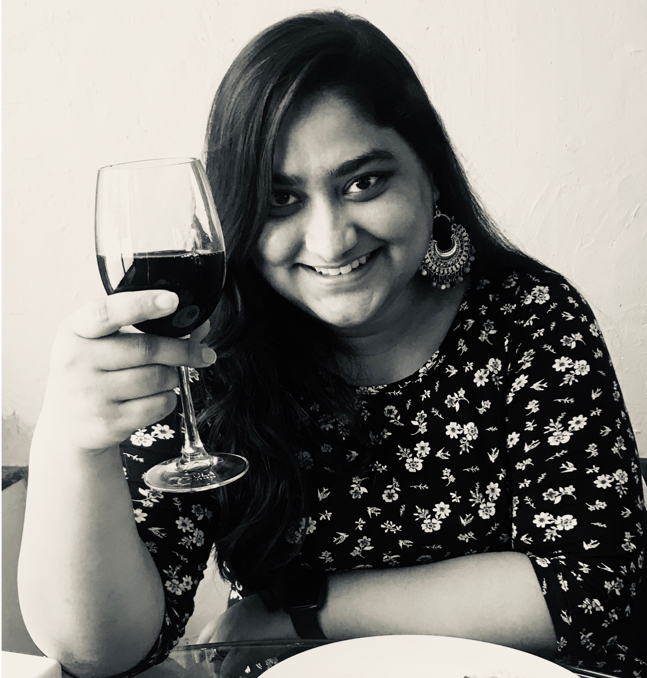 thatbhaumikgirl with a glass of wine